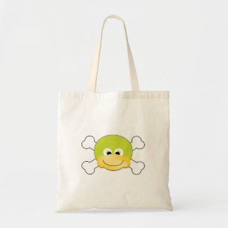 cute silly ducky face crossbones design budget tote bag