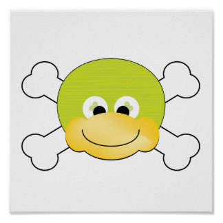 cute silly ducky face crossbones design poster