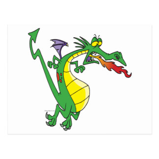 cute silly firebreathing dragon cartoon character postcard