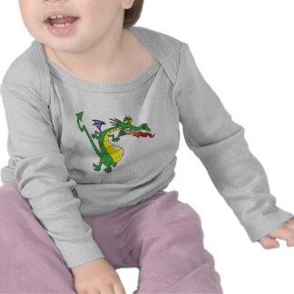 cute silly firebreathing dragon cartoon character tee shirt