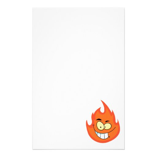 cute silly flame fire cartoon character stationery design