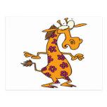 cute silly flower spots giraffe cartoon postcards