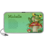 cute silly frog on toadstool mushroom II iPod Speakers