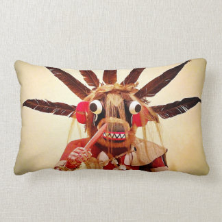 Cute silly funny face wood carved character photo lumbar pillow
