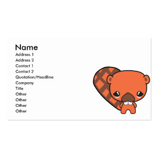 cute silly kawaii beaver Double-Sided standard business cards (Pack of 100)