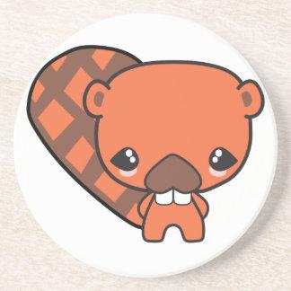 cute silly kawaii beaver drink coasters