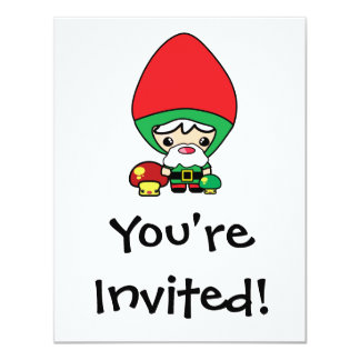 cute silly kawaii garden gnome and mushrooms 4.25x5.5 paper invitation card