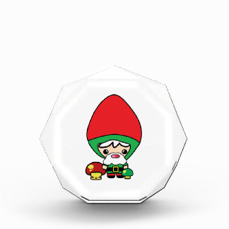 cute silly kawaii garden gnome and mushrooms acrylic award