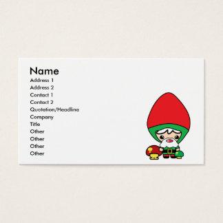 cute silly kawaii garden gnome and mushrooms business card
