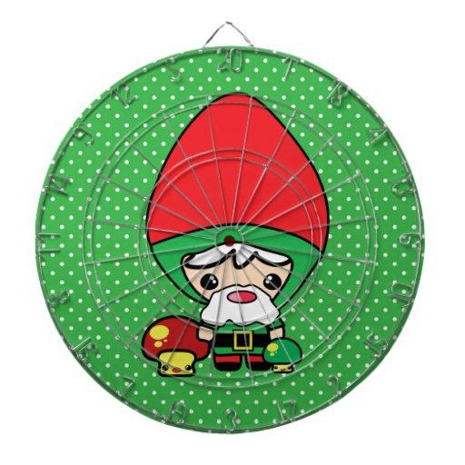 cute silly kawaii garden gnome and mushrooms dart boards