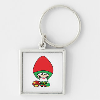 cute silly kawaii garden gnome and mushrooms Silver-Colored square keychain