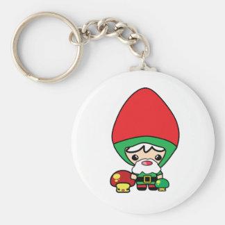 cute silly kawaii garden gnome and mushrooms basic round button keychain