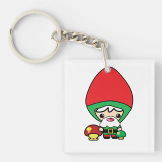 cute silly kawaii garden gnome and mushrooms Double-Sided square acrylic keychain