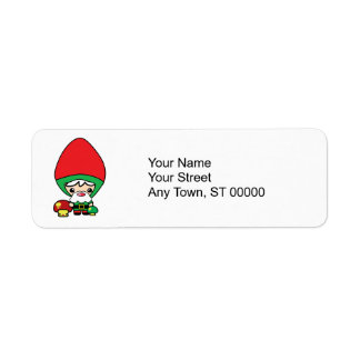 cute silly kawaii garden gnome and mushrooms label
