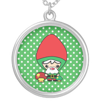 cute silly kawaii garden gnome and mushrooms personalized necklace