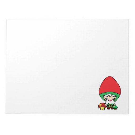 cute silly kawaii garden gnome and mushrooms scratch pad