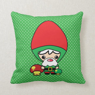 cute silly kawaii garden gnome and mushrooms pillow