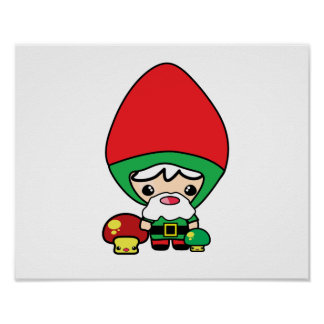 cute silly kawaii garden gnome and mushrooms poster