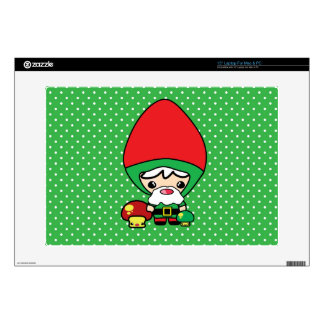 cute silly kawaii garden gnome and mushrooms laptop skins
