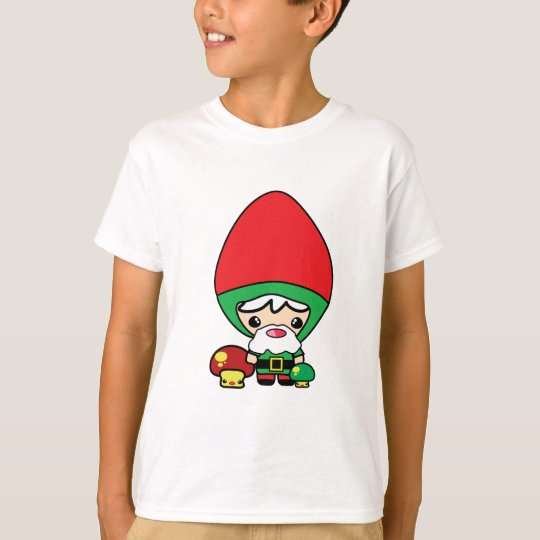 cute silly kawaii garden gnome and mushrooms T-Shirt