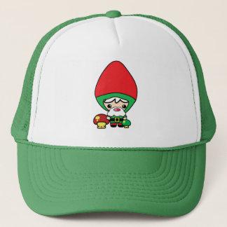 cute silly kawaii garden gnome and mushrooms trucker hat
