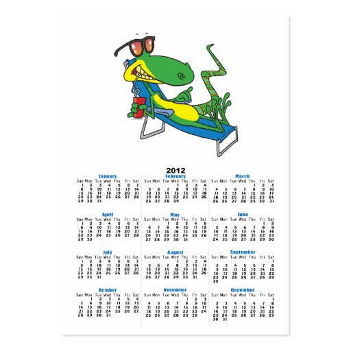 cute silly lounging sun lizard cartoon business card templates
