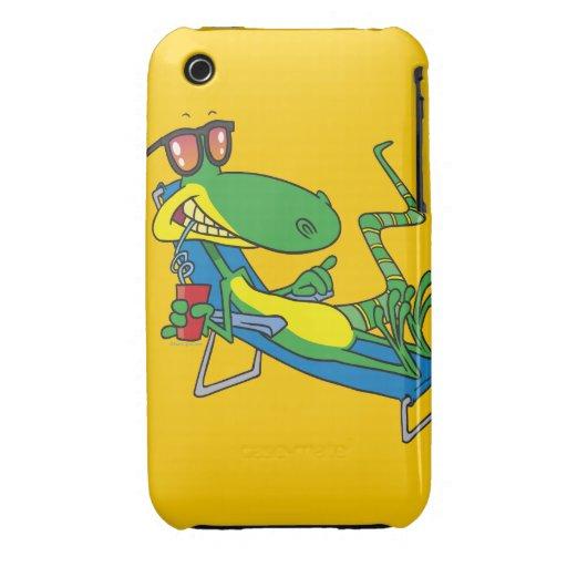 cute silly lounging sun lizard cartoon iPhone 3 Case-Mate case