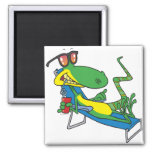 cute silly lounging sun lizard cartoon 2 inch square magnet