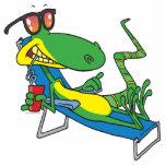 cute silly lounging sun lizard cartoon photo sculptures