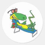 cute silly lounging sun lizard cartoon round sticker