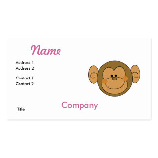 Cute Silly Monkey Face Double-Sided Standard Business Cards (Pack Of 100)