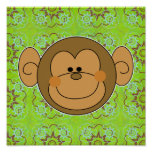 Cute Silly Monkey Face Poster