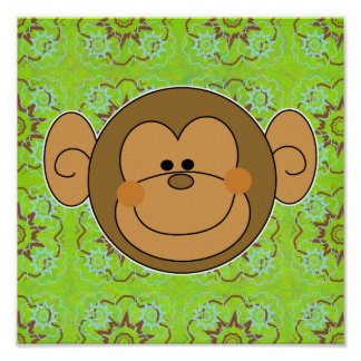 Cute Silly Monkey Face Posters