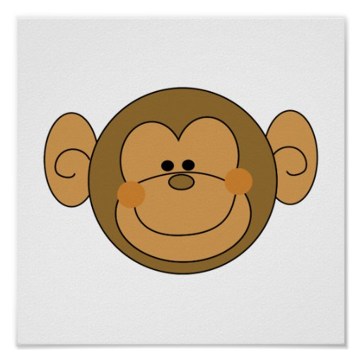 Cute Silly Monkey Face Print
