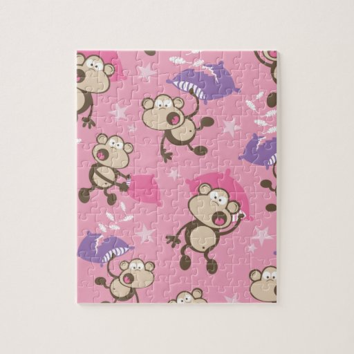 cute silly pillow fighting fight monkeys cartoon jigsaw puzzle Zazzle