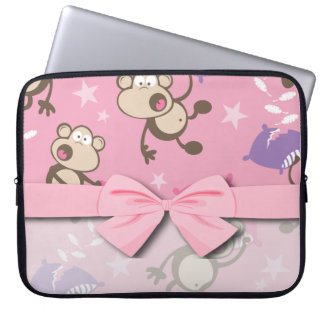 cute silly pillow fighting fight monkeys  cartoon laptop computer sleeves