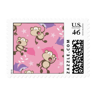 cute silly pillow fighting fight monkeys  cartoon stamp