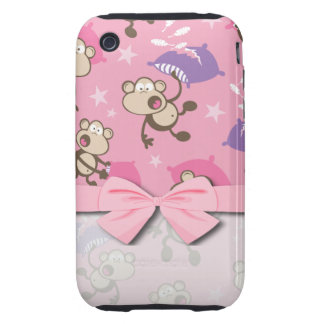 cute silly pillow fighting fight monkeys  cartoon tough iPhone 3 case