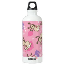 cute silly pillow fighting fight monkeys  cartoon water bottle