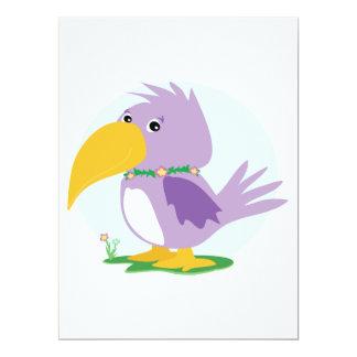 cute silly purple parrot vector cartoon 6.5x8.75 paper invitation card