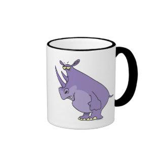 cute silly purple rhino rhinoceros cartoon ringer coffee mug
