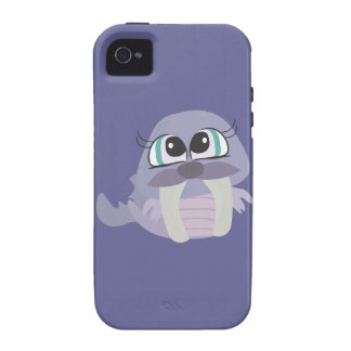 cute silly purple walrus vector character Case-Mate iPhone 4 case
