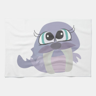 cute silly purple walrus vector character kitchen towel
