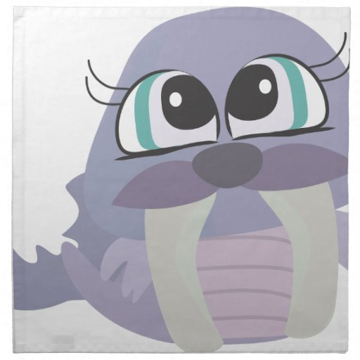 cute silly purple walrus vector character printed napkin