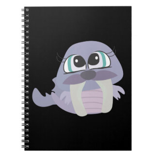 cute silly purple walrus vector character spiral notebooks