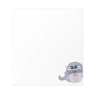cute silly purple walrus vector character note pads