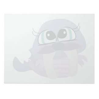 cute silly purple walrus vector character memo note pad