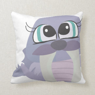 cute silly purple walrus vector character throw pillow