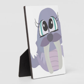cute silly purple walrus vector character display plaques