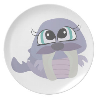 cute silly purple walrus vector character plates